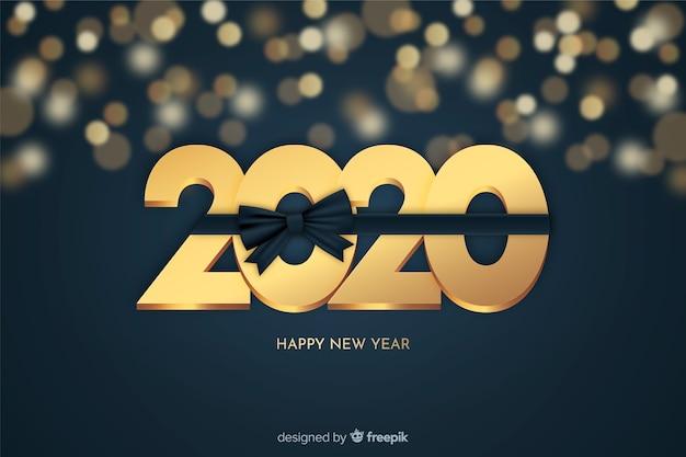 Ano novo dourado fundo bonito Vetor grátis