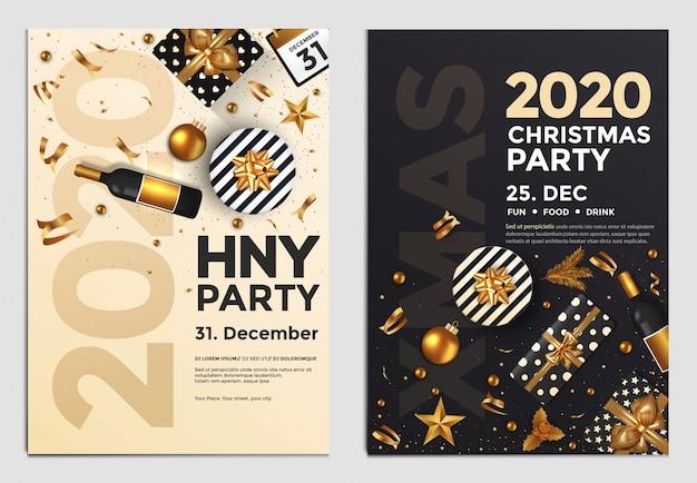 Ano novo festa flyer dourado Vetor Premium