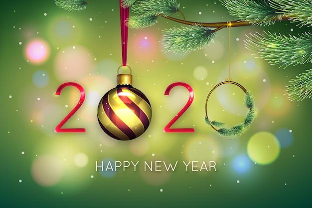 Ano novo fundo realista Vetor grátis