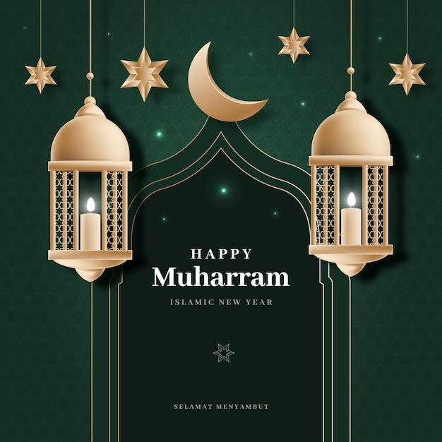Ano novo islâmico realista Vetor grátis