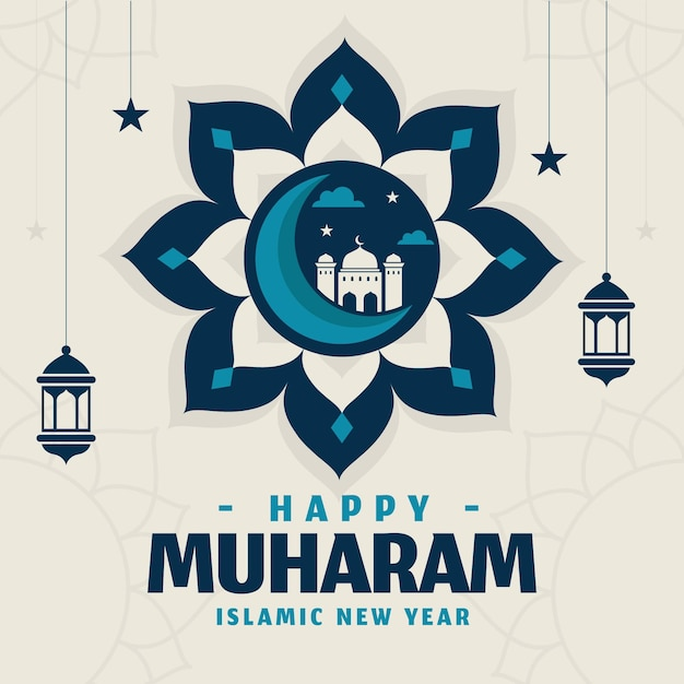 Ano novo islâmico Vetor Premium
