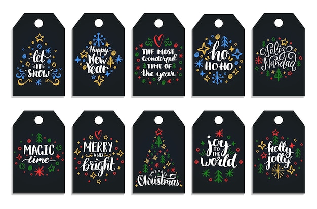 Ano novo mão lettering tags em fundo preto. ilustrações de desenho de giz de natal. Vetor Premium