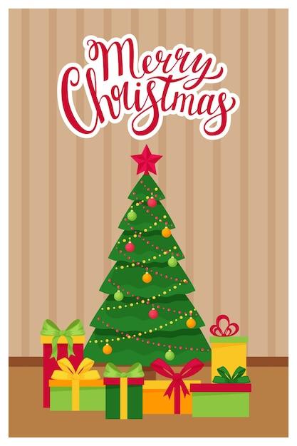 Ano novo modelo, cartão de natal com as palavras feliz natal. Vetor Premium