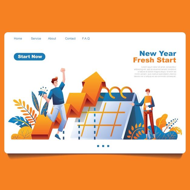Ano novo objetivo pessoas e gráfico de planejamento com ilustração de elemento foloral Vetor Premium