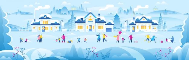 Ano novo ou natal pequena cidade com pessoas pequenas Vetor Premium