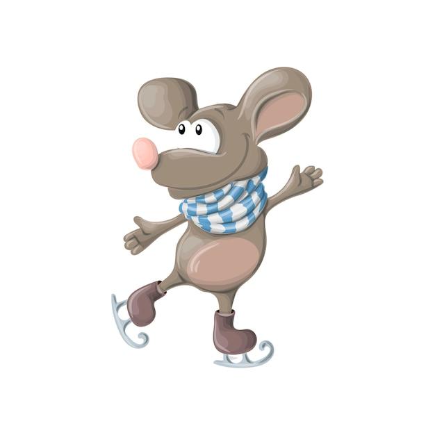 Ano novo, patins felizes engraçados do rato ou do rato Vetor Premium