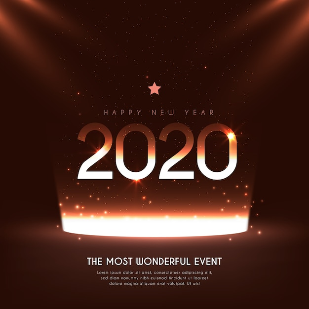 Ano novo realista 2020 Vetor grátis