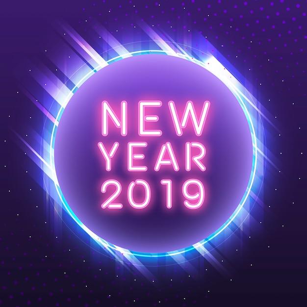 Ano novo rosa 2019 em um vetor de sinal de néon azul círculo Vetor grátis