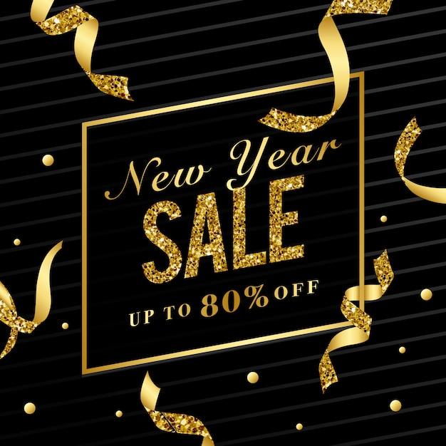 Ano novo venda 80% sinal vector Vetor grátis