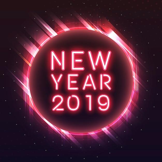 Ano novo vermelho 2019 em um vetor de sinal de néon de círculo vermelho Vetor grátis