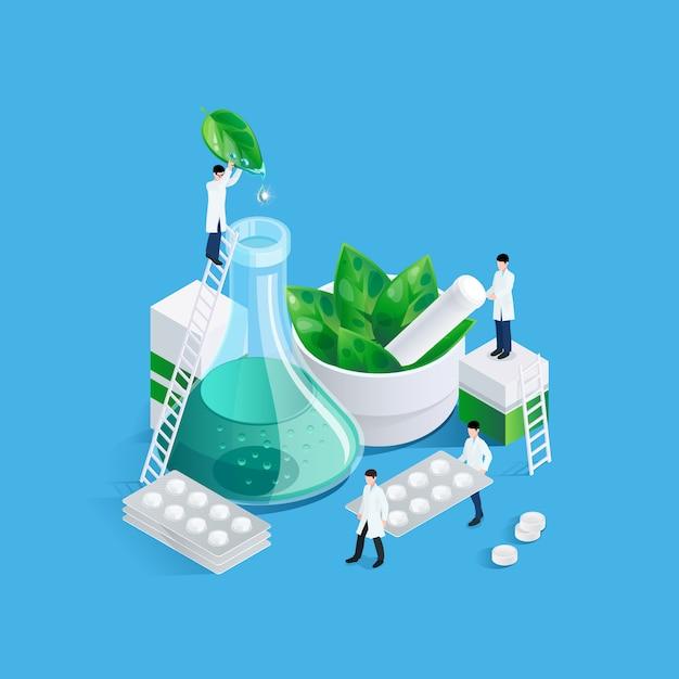 Anões e conceito de medicação Vetor grátis