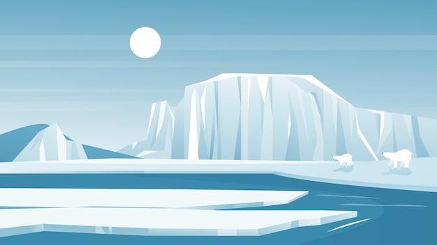Antártica geada com uma montanha de neve iceberg Vetor Premium