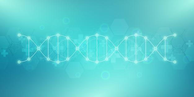 Antecedentes da cadeia de dna e engenharia genética Vetor Premium