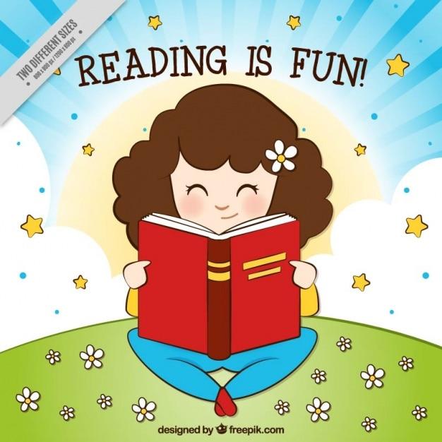 Antecedentes da leitura da menina no campo Vetor grátis