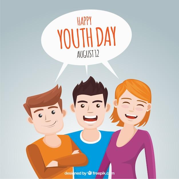 Antecedentes de amigos comemorando o dia do dia da juventude Vetor grátis