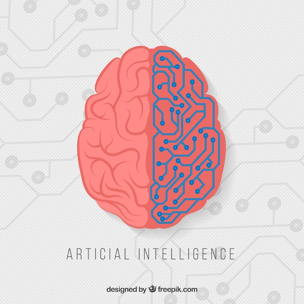 Antecedentes de inteligência artificial plana Vetor Premium