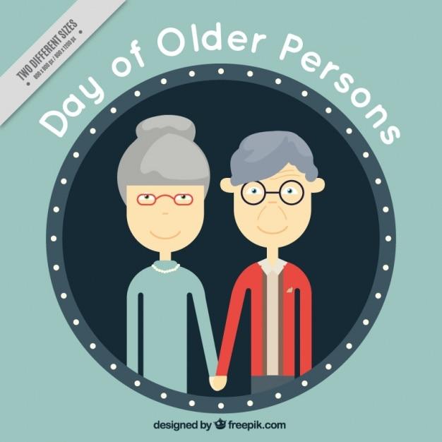 Antecedentes do simpático casal mais velho Vetor grátis