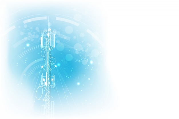 Antena transmissão torre de comunicação de fundo Vetor Premium
