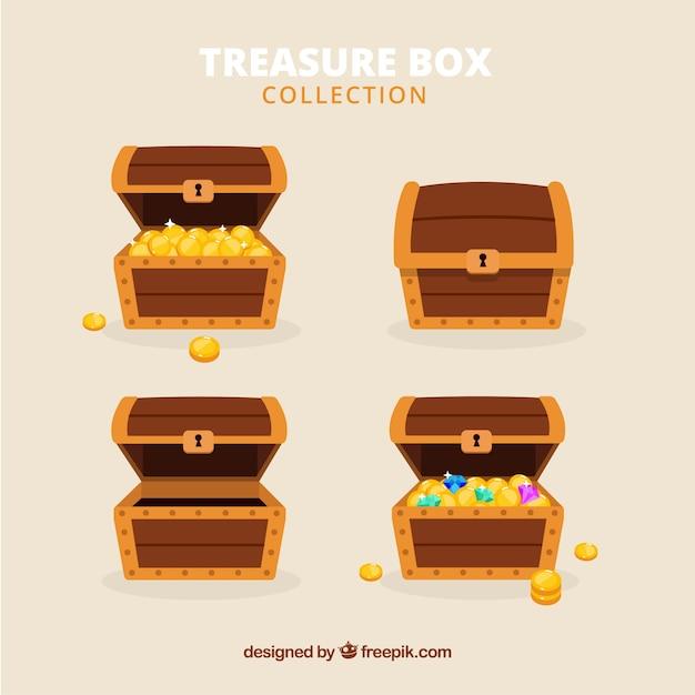 Antiga coleção de caixa de tesouro com design plano Vetor grátis