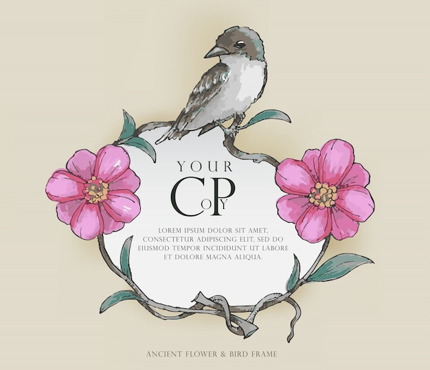 Antiga flor & ave frame, estilo de cor de água, vetor Vetor Premium