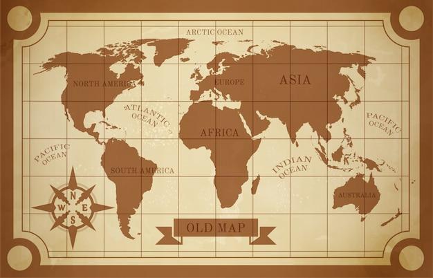 Antiga ilustração do mapa Vetor grátis