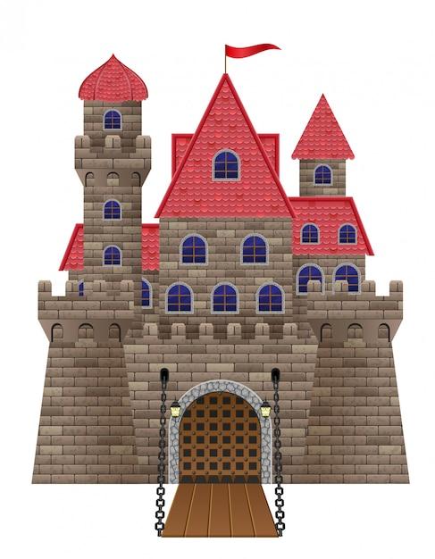 Antiga ilustração em vetor antigo castelo de pedra Vetor Premium