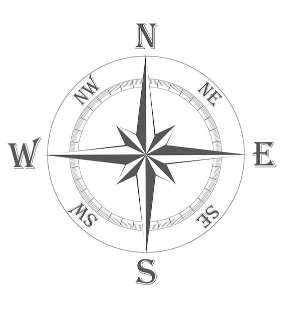 Antiga ilustração vetorial de rosa dos ventos Vetor Premium
