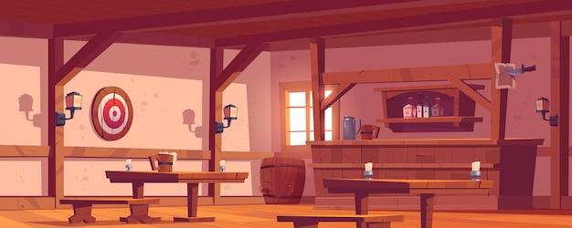 Antiga taberna, pub vintage com balcão de madeira, prateleira com garrafas, lanternas e caneca de cerveja na mesa. desenho vetorial vazio interior de salão retrô com alvo de barril e dardos na parede Vetor grátis