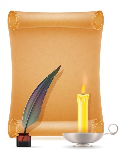 Antigas, papel, rolam, vetorial, ilustração Vetor Premium