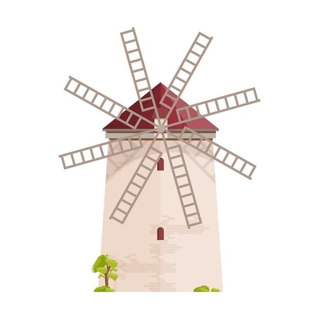 Antigo moinho europeu isolado no branco Vetor Premium