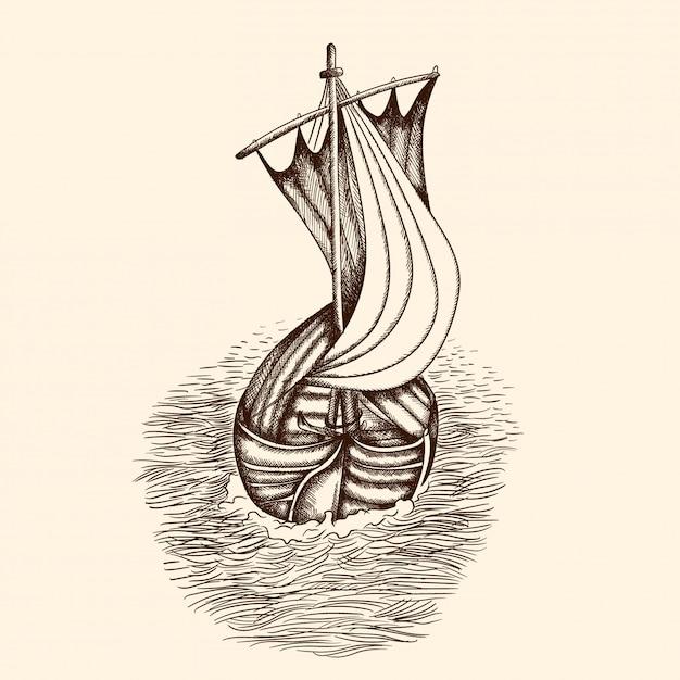 Antigo navio pirata. Vetor Premium