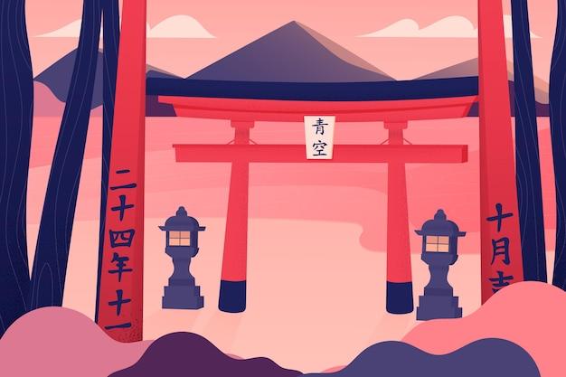 Antigo portão torii com lanternas Vetor grátis