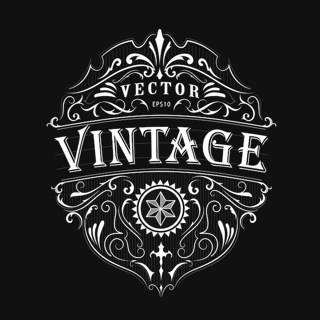 Antigo rótulo tipografia vintage frame vector design Vetor Premium