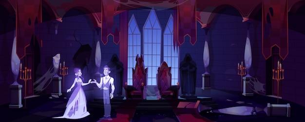 Antigo salão do castelo com quarto escuro assustador palácio fantasmas Vetor grátis