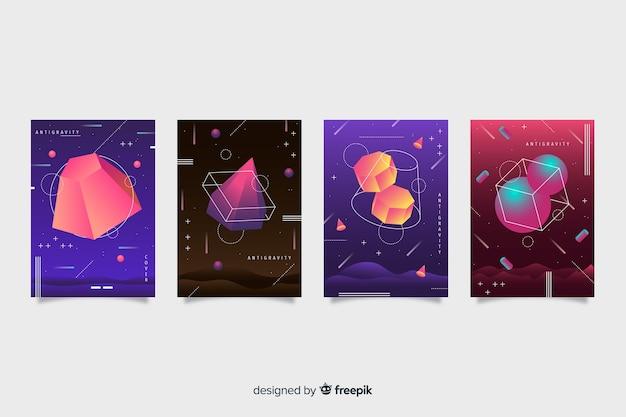 Antigravidade formas geométricas cobrem coleção Vetor grátis