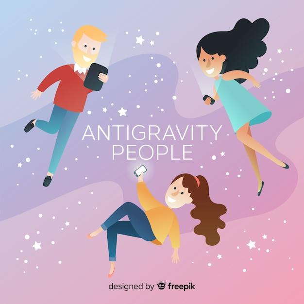 Antigravidade pessoas fundo Vetor grátis
