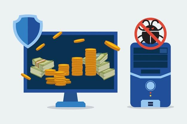 Antivírus para ilustração de peças de computador de proteção. operações bancárias seguras no computador, dispositivo eletrônico. Vetor Premium