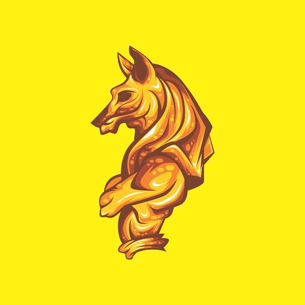 Anubis de ouro Vetor Premium