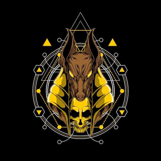 Anubis e crânio design ilustração com geometria sagrada Vetor Premium