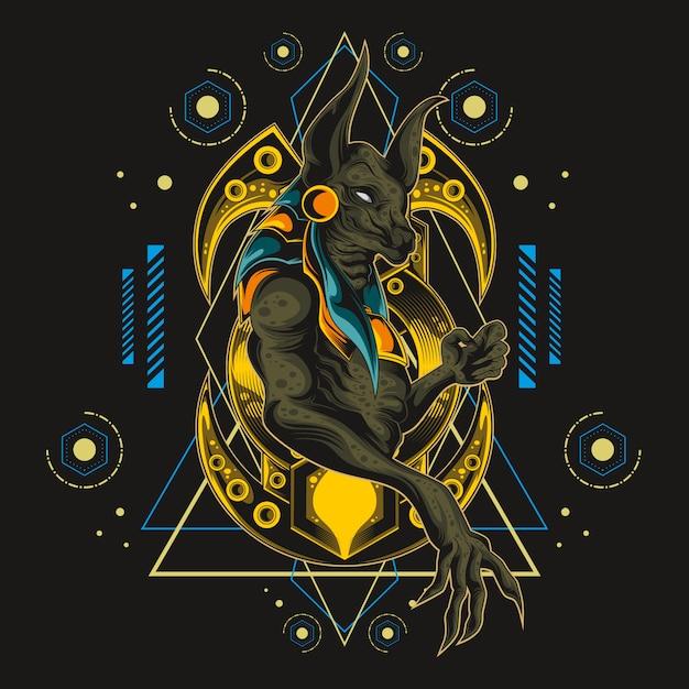 Anubis sagrados geometria sagrada Vetor Premium