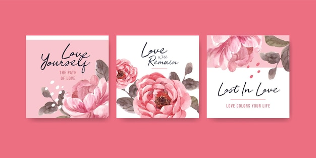 Anuncie modelo com amor florescendo conceito de design para ilustração de aquarela de negócios e marketing Vetor grátis