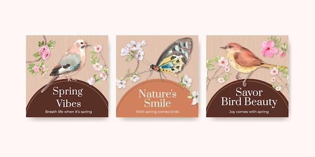 Anuncie modelo definido com pássaros e conceito de primavera Vetor grátis