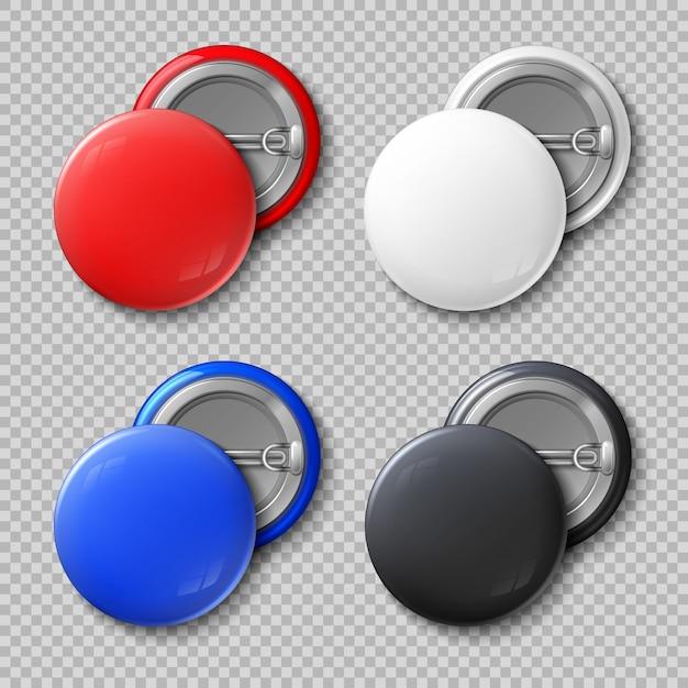 Anuncie os botões redondos do metal da cor vazia ou o grupo isolado crachás. Vetor Premium