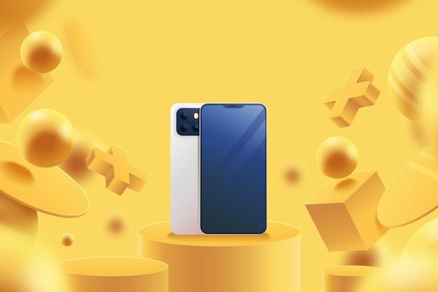 Anúncio 3d realista com telefones Vetor Premium