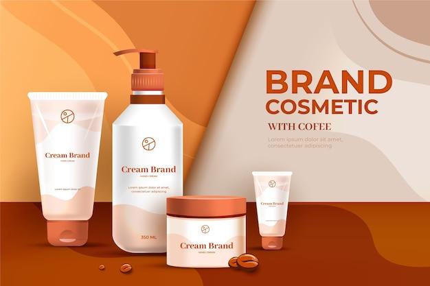 Anúncio cosmético da marca gel e creme para loção Vetor Premium
