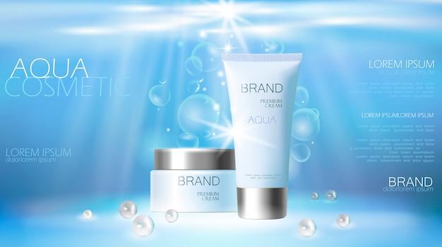 Anúncio cosmético da nata do cuidado de pele do aqua que promove o molde do cartaz. embaixo da agua Vetor Premium