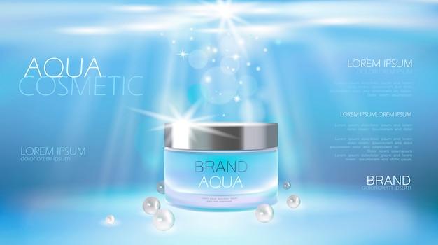Anúncio cosmético da nata do cuidado de pele do aqua que promove o molde do cartaz. Vetor Premium