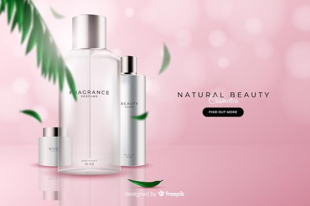Anúncio cosmético natural realístico Vetor grátis