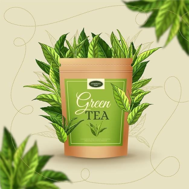 Anúncio de chá com mão desenhando decoração Vetor grátis