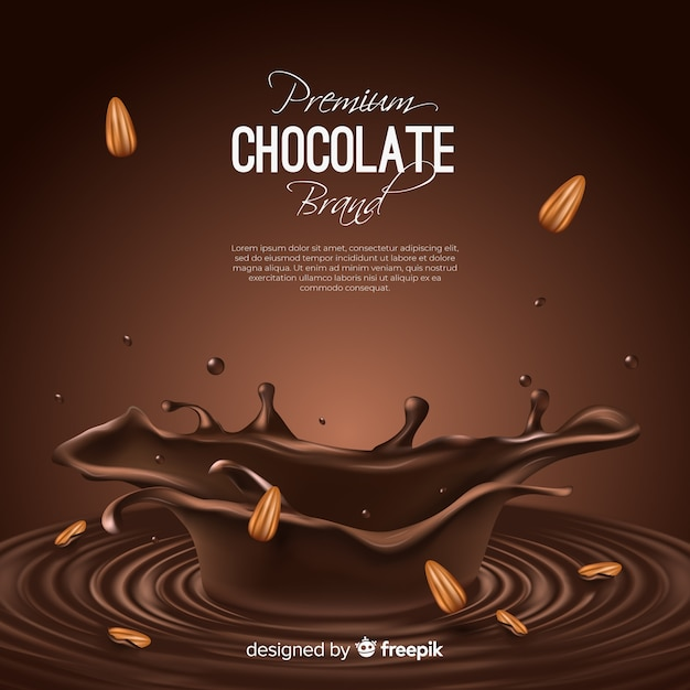 Anúncio de chocolate delicioso com amêndoas Vetor grátis
